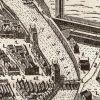 Fragment planu z 1635r., którego autorem jest Paweł Stertzel- sekretarz rady Starego Miasta sporządzonego dla wojsk szwedzkich. Widoczne Brama Młyńska z Mostem Młyńskim, Brama Kotlarska bez mostu, który najprawdopodobniej został zerwany przez Szwedów w celu poprawy obronności wschodniej części miasta.