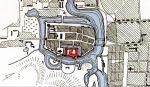 Plan Braniewa wg J.M. Giese z lat 1826-1828 przedstawiający oprócz fortyfikacji, układ fosy miejskiej oraz oba mosty na Pasłęce.