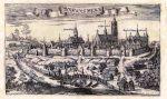 Panorama Braniewa z 1684 r. Christopfa Hartknocha. Autor ten wykonał wiele podobnych ilustracji, jednak w tym konkretnym przypadku trudno zidentyfikować widoczne na ilustracji budowle obronne. Widoczny po lewej stronie most to zapewne Most Kotlarski, choć znajdująca się na przeciw niego brama w zupełności nie przypomina Bramy Kotlarskiej.