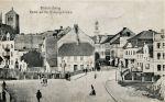 """Widok z """" Nowego Miasta""""  na Most Młyński i wlot ulicy Langgasse (obecnie Gdańska). Zdjęcie z ok. 1920 r."""