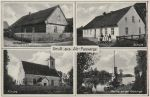 przedwojenna pocztówka ze Starej Pasłęki m.in. ze szkołą i kościołem ewangelickim. Dziś tych obiektów już nie ma.