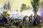 Powstanie wielkopolskie, które wybuchło w Wielkopolsce w 1848 roku, jako część ogólnopolskiego planu powstania narodowego w czasie europejskiej Wiosny Ludów. W wyniku berlińskiej rewolucji marcowej, utworzono w Poznaniu 20.03.1848 Komitet Narodowy, który proklamował niepodległość i przystąpił do organizacji sił zbrojnych. Naczelnym wodzem powstania został Ludwik Mierosławski (1814-1817).Komitet Narodowy utworzył wydział wojskowy celem organizacji sił zbrojnych, które liczyły ok. 20 tys. Polaków. W kwietniu 1848 w całym Wielkim Księstwie Poznańskim dochodziło do starć lokalnych formacji powstańczych z oddziałami pruskimi. Jednak 11.04.1848 Komitet podpisał z przedstawicielem władz pruskich ugodę w Jarosławcu. W zamian za obietnicę autonomii części Poznańskiego zgodzono się na rozwiązanie większości oddziałów powstańczych (kosynierów). Ci ostatni ugodę tę przyjęli jako zdradę, ale większość sił rozwiązano. Prusacy nie dotrzymali obietnicy i przystąpili do likwidacji sił powstańczych. W odpowiedzi na to, istniejące jeszcze oddziały polskie stawiły czynny opór i odniosły kilka zwycięstw. Mimo to wojska powstańcze uległy rozprzężeniu. 8.05.1848 doszło do podpisania umowy kapitulacyjnej, a główne siły Mierosławskiego złożyły broń następnego dnia. Polaków w poznańskim spotkały represje. Obraz Juliusza Kossaka przedstawia zwycięską bitwę pod Miłosławiem 30.04.1848.