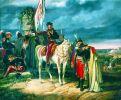 """Latem i jesienią 1831 r. granice Prus przekroczyło ok. 30 tys. polskich żołnierzy, którzy chcąc uniknąć rosyjskiej niewoli i zesłania na Syberię, wybrali internowanie w zaborze pruskim. Część tych wojsk powróciła do Królestwa Polskiego, a wielu innych wyemigrowało do Europy. Obraz z 1832 r. pt. """"Finis Poloniae 1831"""" autorstwa niemieckiego malarza batalisty Dietricha Montena (1799-1847), przedstawiający przekroczenie granicy z Prusami przez pokonane wojsko polskie."""