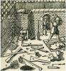 sprzęt przeciwpożarowy używany w XV-XVIII w. W warsztacie widać zgromadzony na ściance sprzęt ppoż. jak wiadra i bosaki, ale przede wszystkim znajdująca się na dole tzw. szpryca, czyli sikawka podręczna.