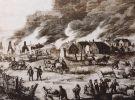 akcja gaśnicza podczas pożaru miasta. Ciasna i łatwopalna zabudowa ułatwiała niekontrolowany rozwój pożarów, które często obejmowały całe dzielnic, czy kwartały. Największe pożary w Braniewie objęły ponad 60 budynków.