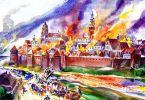 Tak to mogło wyglądać przed wiekami w Braniewie… Pożar Klisza, który wybuchł  w dniu 13.09.1792 r. strawił 274 budynki, a więc prawie całe miasto w obrębie murów obronnych. Miasto liczyło wówczas 4 tys. mieszkańców, a więc było porównywalne z Braniewem. Przyczyną było pozostawienie palącej się świecy w stajni. Ogień błyskawicznie zajął kolejne budynki, czemu dodatkowo sprzyjał wiejący wiatr. Odbudowa miasta trwała kilkanaście lat.