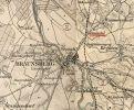 fragment mapy z 1893 r.  zaznaczonym Einsiedel (Siedliskiem), charakter miejsca zmieniła wybudowana w 1853 r. linia kolejowa Ostbahn