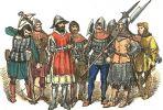 Rycerstwo polskie w latach 1447-1492, a więc w okresie wojny trzynastoletniej 1454-1466 i popiej 1478-1479. Po obu konfliktach Siedlisko maiło odnawiany przywilej lokacyjny przez komturó1) bałgijskich. 8 zbrojnych, od lewej- dwaj kusznicy, dwaj rycerze piechoty, drab miejski, dwaj halabardnicy i rycerz z toporem. Autor Jan Matejko