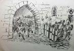 atak mieszczan braniewskich na zamek biskupi w Braniewie zakończony ucieczką biskupa Sorboma. Mieszczanie zniszczyli mury i wieże od strony miasta oraz zasypali fosę wewnętrzną. Ilustracja autorstwa Andrzeja Zielińskiego.