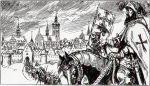 """tak to mogło wyglądać w 1396 r. gdy Krzyżacy wezwani przez biskupa Sorboma pojawili się pod murami Braniewa. Na pewno """"zachęcili"""" mieszczan do kapitulacji wobec biskupa. Ilustracja z komiksu o biwie pod Grunwaldem, a widok Braniewa z 1684 r. Hartknocha. Tymczasem już wcześniej i wielokrotnie Krzyżacy """"mieszali"""" się w sprawy Braniewa, najczęściej na niekorzyść mieszkańców."""
