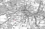 mapa Schroettera z 1802 z zaznaczonym miejscem walki w dniu 14.06.1807, w której Sowiński został ranny i wzięty do niewoli