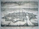 Elbląg 1652. Efektwony widok miasta Elbląga z lotu ptaka, z wyraźnie zarysowanym pasem murów obronnych i fortyfikacji. Pochodzi ze słynnego dzieła
