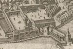 dzięki planowi z 1635 r. znamy widok ogólny zamku biskupiego, którego pozostałości rozebrano po 1873 r. zastępując budynkiem w stylu neogotyckim. Z widocznego na ilustracji do dziś przetrwałą Wieża Bramna, będąca wówczas przejazdem pomiędzy zamkiem głównym, a przedzamczem. Być może pod ziemią kryją się piwnice dawnego zamku. Jak widać na ilustracji zamek był wykorzystywany przez wojsko szwedzkie, gdzie znajdowała się rezerwa artylerii.