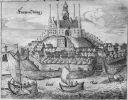 Frombork, miedzioryt  Ch. Hartknoch Ch., z  1684 r., więc już po odbudowie spalonego w 1626r. miasta