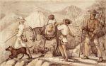 1853. Ekspedycja przez Amerykę Środkową. Autor Gustaw von Tempski (być może ten z prawej) w drodze z towarzyszami .