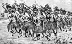 XIX-wieczna rycina przedstawiająca Maorysów tańczących hakę