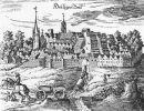 Świętomiejsce (Heiligenbeil, obecnie Mamonowo) było jednym z głównych punktów wojsk krzyżackich i to z jego załogą najczęściej walczyli braniewianie. Obraz z XVII wieku.