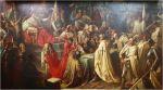 W dniu 19.10.1466 r. podpisany został II pokój toruński na mocy, którego Braniewo zostało przyłączone do Rzeczpospolitej. Obraz Mariana Jaroczyńskiego (1819 – 1901) przedstawia chwilę podpisania traktatu kończącego wojnę trzynastoletnią z Zakonem Krzyżackim. Na mocy pokoju Polska zdobyła Pomorze Gdańskie, Żuławy z Malborkiem, Ziemię Chełmińską i warmińskie księstwo biskupie z Braniewem. Okrojone państwo krzyżackie ze stolicą w Królewcu zostało lennem Polski.  Autor obrazu ukazał atmosferę polskiego triumfu. Wielki mistrz Ludwik von Erlichshausen waha się przed złożeniem podpisu na dokumencie. Za nim stoi wielki szpitalnik Henryk Reuss von Plauen, który zdjął hełm i rękawice, rezygnując z dalszej walki. Porażkę krzyżaków podkreśla rzucona na posadzkę zakonna flaga. Kazimierz Jagiellończyk, siedzi na podwyższeniu w otoczeniu doradców i urzędników. Legat papieski Rudolf von Rüdesheim wznosi modły za trwałość pokoju. Jan Długosz z piórem w dłoni układa słowa, które miały znaleźć się w Rocznikach Sławnego Królestwa Polskiego. Być może wśród ukazanych postaci jest biskup warmiński Paweł Legendorf jeden z sygnatariuszy pokoju toruńskiego i zwolennik kontynuowania wojny aż do całkowitego wypędzenia zakonu z Prus. Jako jedyny biskup warmiński spoczął w Braniewie w kościele św. Katarzyny. Od 1467r. jego ciało spoczywa pod posadzką w pobliżu ołtarza. To jego postawie zawdzięczamy polskie Braniewo w latach 1466-1772.