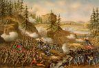 Bitwa pod Chattanooga stoczona w dniach 23-25.11.1863r. Zwycięstwo wojsk Unii.  Na obrazie generał  Thomas atakuje  na Orchard Knob- litografia Kurz and Allison 1888r. W tej bitwie zdobywa wzgórze Missionary Ridge, biorąc setki jeńców i zdobywając wiele sprzętu oraz 2 konfederackie sztandary.