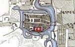 Plan Braniewa przedstawiający oprócz fortyfikacji układ fosy miejskiej i zamkowej wg J.M. Giese