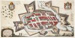 Kolorowa wersja planu Pawła Stertzla z 1635 r. Widać nie tylko przebieg fosy miejskiej, ale również wodospad na Pasłęce, młyn miejski i co najważniejsze 3 studnie publiczne na ulicy Langgasse , czyli obecnej Gdańskiej