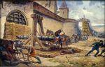 Tak to mogło wyglądać. Szturm zamku przez oddziały czeskie. Obraz Adolf Liebscher.